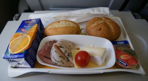 A typical airline meal