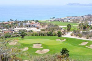 View of golf course overlooking the ocean at Cabo San Lucas