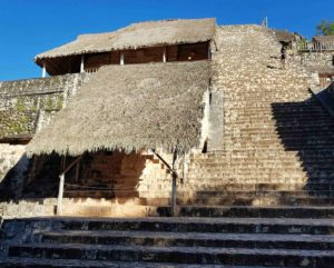 Main pyramid at Ek Balam showing the thatched roofing