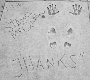 Steve McQueen's hand and shoe marks on Hollywood Blvd.