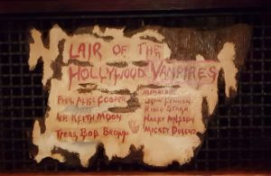 Sign at entrance to Hollywood Vampires' lair