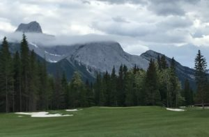 Mountains and sky back Kananaskis golf course