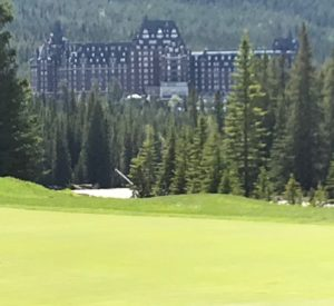 The majestic Banff Springs Hotel from the 14th green